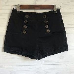 Black Express Shorts. Nautical Buttons.